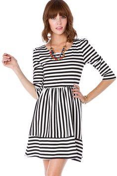 ShopSosie Style : Jordane Striped Dress in Classic