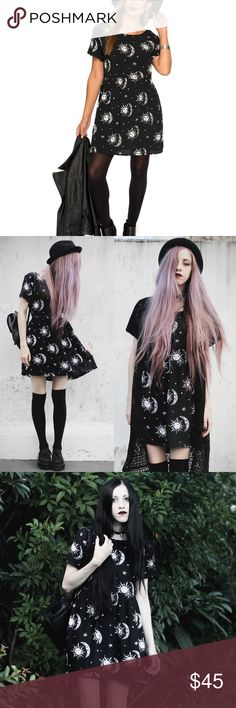 Sun, Moon & Stars Dreamer Gothic Spiritual Dress With tie up backing Motel Rocks Dresses