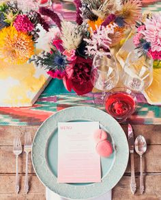 Inspire Wedding | Summer | Bright, colourful, flowers,  wedding table setting