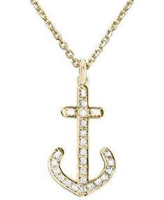 "22KT Goldplate Diamond Cut Ship Anchor Charm 18/"" Chain Necklace"