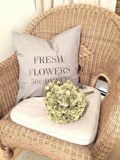 DIY stenciled fresh flowers pillow covers using Knick of Time's Vintage Sign Stencils. Project by Homeroad | http://www.homeroad.net