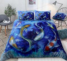 Duvet Cover Sizes, Duvet Covers, Comforter Sets, 3d Bedding, Dark Blue Background, Bedding Collections, Blue Backgrounds, Koi, Comforters