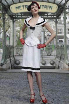 Pinstripe corset and pencil skirt from corsetière Miss Katie