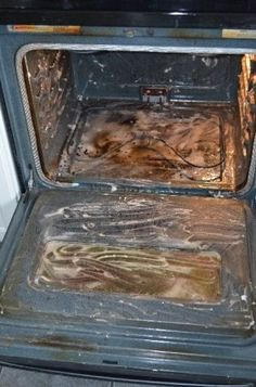 Oven cleaning with baking soda and vinegar.