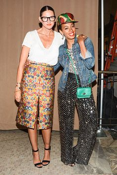 Jenna Lyons in patterned skirt and white tee- Spring 2013 Fashion Week
