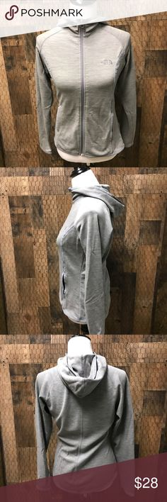 The North Face Grey Jacket Medium The North Face light weight grey jacket in size women's medium. Good used condition. Check out my closet for other namebrand items to bundle with to save 15% and combined shipping. The North Face Jackets & Coats