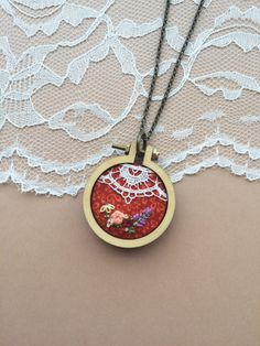 Hand Embroidered Mini Embroidery Hoop Necklace With Vintage Lace Trim: Fall Colors by PlaidLoveThreads on Etsy