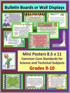 Mini posters for the Common Core Science and Technical Subjects.  Grades 9-10.  Great for bulletin board or wall display.
