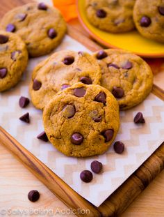 Perfectly soft & chewy pumpkin chocolate chip cookies without being cakey. sallysbakingaddiction.com