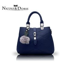 NICOLE/&DORIS Femme Sac Cabas Grand Sac /à Main Sac fourre-Tout en Cuir PU Sac /à bandouli/ère Mode Sac /à Main Bleu