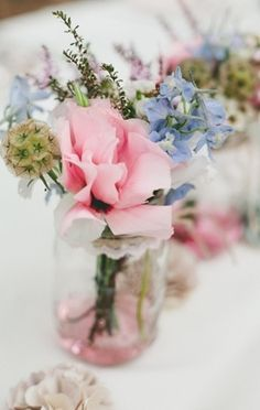 Pink, Purple, and Blue flowers Cream Wedding, Blue Wedding, Wedding Colors, Our Wedding Day, Perfect Wedding, Wedding Ideas, Wedding Things, Best Wedding Blogs, Vintage Country Weddings