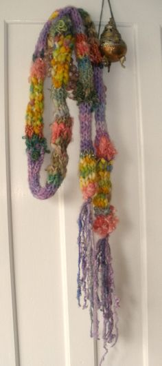 rustic and soft handknit gypsy patchwork scarf par beautifulplace, $36,00