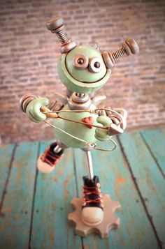Valentine's Day Cupid Blue Bap Rustic Robot Sculpture handmade by HerArtSheLoves of RobotsAreAwesome on Etsy, $60.00