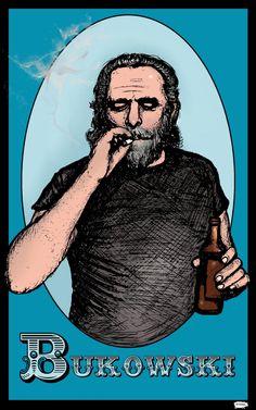 Charles Bukowski  Amaral Cartoons Poster