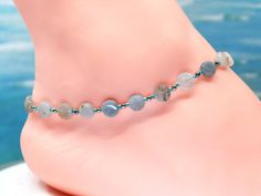 Aquamarine anklet, ankle bracelet, gift under gemstone anklet by CustomAnkletsByLori on Etsy Boot Jewelry, Ankle Jewelry, Boot Bracelet, Ankle Bracelets, Diy Necklace, Stone Necklace, Boot Bling, Thing 1, Beaded Anklets