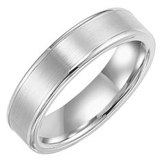 6mm wide white tungsten carbide mens wedding band with brushed center
