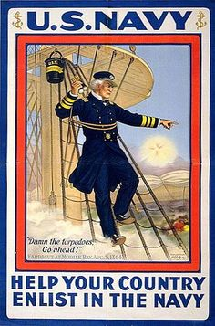 """Help Your Country Enlist in the Navy"" ~ Classic WWI recruitment poster."