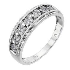 9ct white gold 1/5 carat diamond vintage ring- Ernest Jones