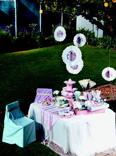 Vintage party theme: Adorn your tables with soft flowers, doilies and lace, for a tea party your little princess will adore.