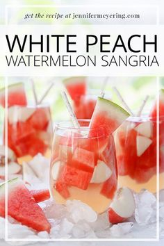 Delicious and refreshing white peach watermelon sangria made with crisp white wine and peach nectar that is sure to be a big hit at your next party!