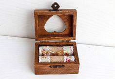 Ring Bearer Box, Wedding box by ArtDidi Wooden Jewelry Boxes, Wooden Rings, Wooden Boxes, Wedding Ring Box, Wedding Boxes, Wedding Day, Shabby Boxes, Ring Bearer Box, Decoupage Box
