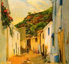 """Joaquim Mir Trinxet (1873-1940). """"El carrer del Congre, 1935"""". Óleo sobre tela. 68 x 74 cm. Colección F. Torelló, Barcelona, España."""