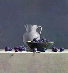 """Still Life with Plums and White Pitcher""  Hank Helmantel"