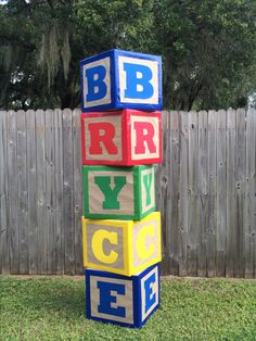 Blocks I made for my son's Toy Story Birthday party. Just covered boxes using brown shipping paper. Then used duct tape around the edges. Finally cut the letters out with my silhouette. :)