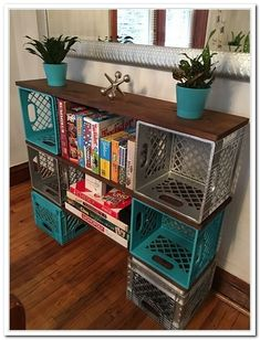 Diy milk crate storage clever ideas to recycle plastic milk crates diy milk crate storage bench . Diy Storage, Craft Room, Crate Shelves, Diy Furniture, Home Diy, Home Organization, Home Decor, Plastic Milk Crates, Crate Diy