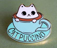 """Catpuccino """"per qui"""" duro smalto Lapel Pin Jacket Pins, Cat Pin, 21st Gifts, Cool Pins, Pin And Patches, Up Girl, Pin Badges, Lapel Pins, Pin Collection"""