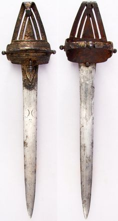 Indian (South) katar / push dagger, 17th century, this example is listed as being a pata (gauntlet sword) but it has similarities to a katar despite lacking the katar style side bars, possibly an early example or an offshoot / varient of the typical katar, it is held in the palm through a steel handle at the back side. L. 19 1/2 in. (49.5 cm); W. 5 in. (12.7 cm); Wt. 25.5 oz. (722.9 g), Met Museum, Bequest of George C. Stone, 1935. #1