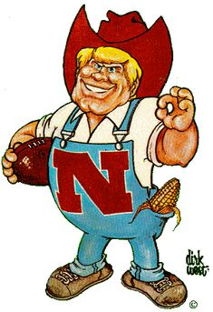 Nebraska mascot Herbie Husker first appeared as pictured here - with blue eyes and blonde hair. He debuted in 1974. In 2003, he was given a makeover.