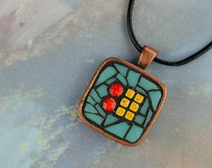 Abstract Mosaic Wearable Art Pendant Necklace by CherieBosela