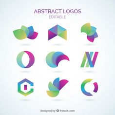 Colorful abstract logos collection Free Vector