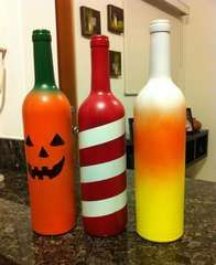 Candy Cane and Candy Corn versions of the Jack-o-lantern Wine Bottle