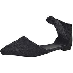 Fashion Women Blinking Pointed Toe Flats Ankle Wrap Pumps Shoes (5 Black)