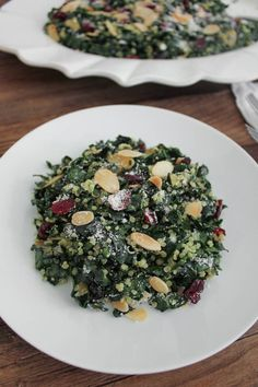 Kale Salad with Quinoa, Cranberries and Toasted Almonds.