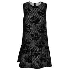 Monique Lhuillier Cotton Mesh Lace Shift Dress (950 CAD) ❤ liked on Polyvore featuring dresses, black cotton dress, sleeveless cotton dress, sleeveless shift dress, lace shift dress and ruffle dress