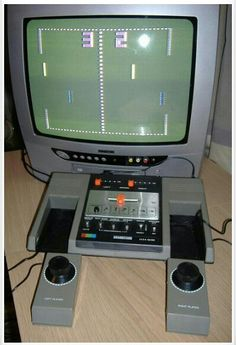 PONG- game that would burn an image into your television screen.  My cousins always had The First Anything when it came out. Of course we were blown away when they got this. It was the first game we played on a T. V. Set