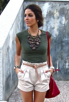 love the paper bag waisted shorts and that necklace!