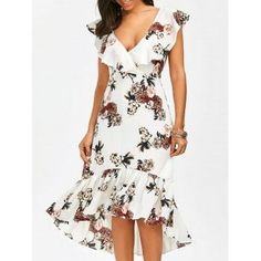 Plunging Floral Ruffle Backless Tea Length Dress - White M Elegant Dresses, Women's Dresses, Cute Dresses, Dress Outfits, Casual Dresses, Fashion Dresses, Short Sleeve Dresses, Dresses For Work, Summer Dresses