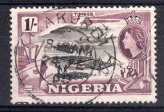 Timber | 1s stamp | stamped in Makurdi 1960 | Nigeria