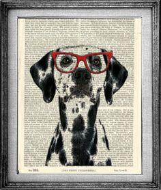 Dalmatian Art Art Print Encyclopedia Paper Dog Wall by PigAndGin, $10.00