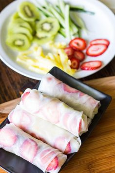 Fresh Fruit Spring Rolls Served with Maple Lime Dipping Sauce | Baking by kendra