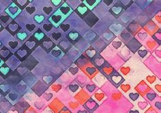 Beige Blue and Pink Valentines Day Heart Texture Background