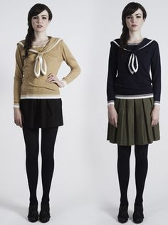 HARBOR SWEATER BY DEAR CREATURES - sailor sweaters with pleated skirts or shorts, yes!