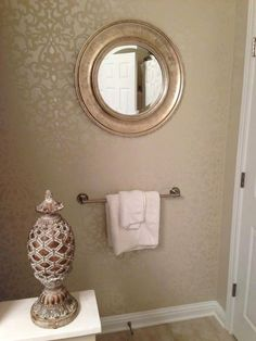Wondrous Damask Wall Stencil With Martha Stewart Pearl Craft Paint For Largest Home Design Picture Inspirations Pitcheantrous