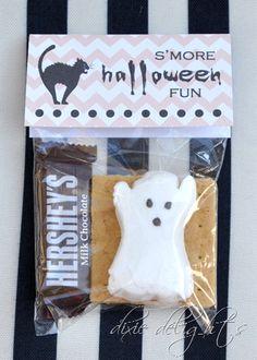 s'more halloween fun - mini hershey's bar, graham crackers, and a ghost peeps.