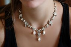 Bridal Necklace Earrings Set Bridal Necklace by simplychic93, $129.00