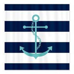 Heartlocked: Teal Anchor on Blue Stripes Shower Curtain: Nautical Design Nautical Shower Curtains, Striped Shower Curtains, Nautical Bathrooms, Custom Shower Curtains, Fabric Shower Curtains, Pirate Bathroom, Navy Bathroom, Anchor Bedroom, Style Marin